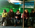 Members of the group at the protest tent in Beit Safafa February